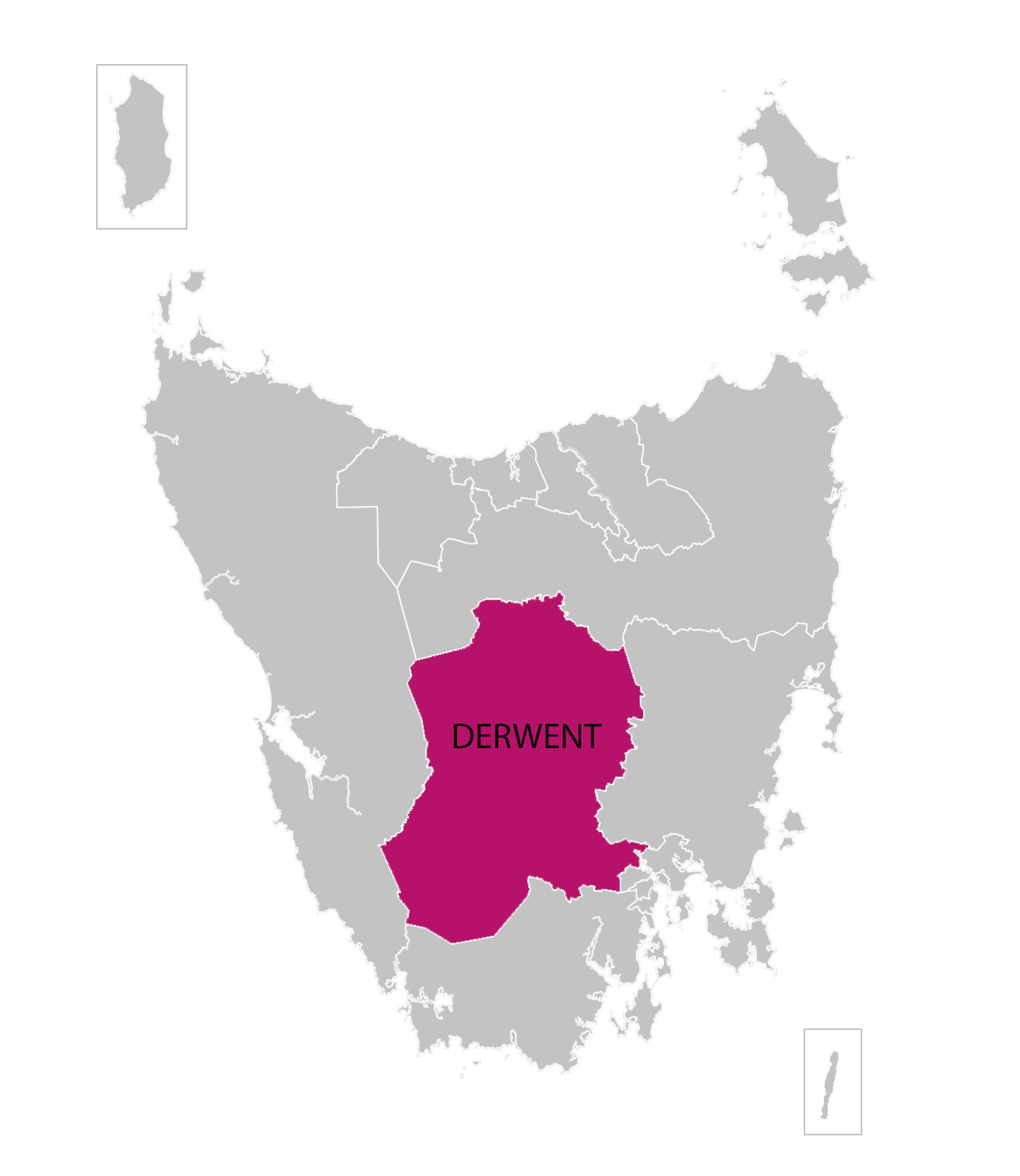 Derwent division highlighted on illustrated map of Tasmania