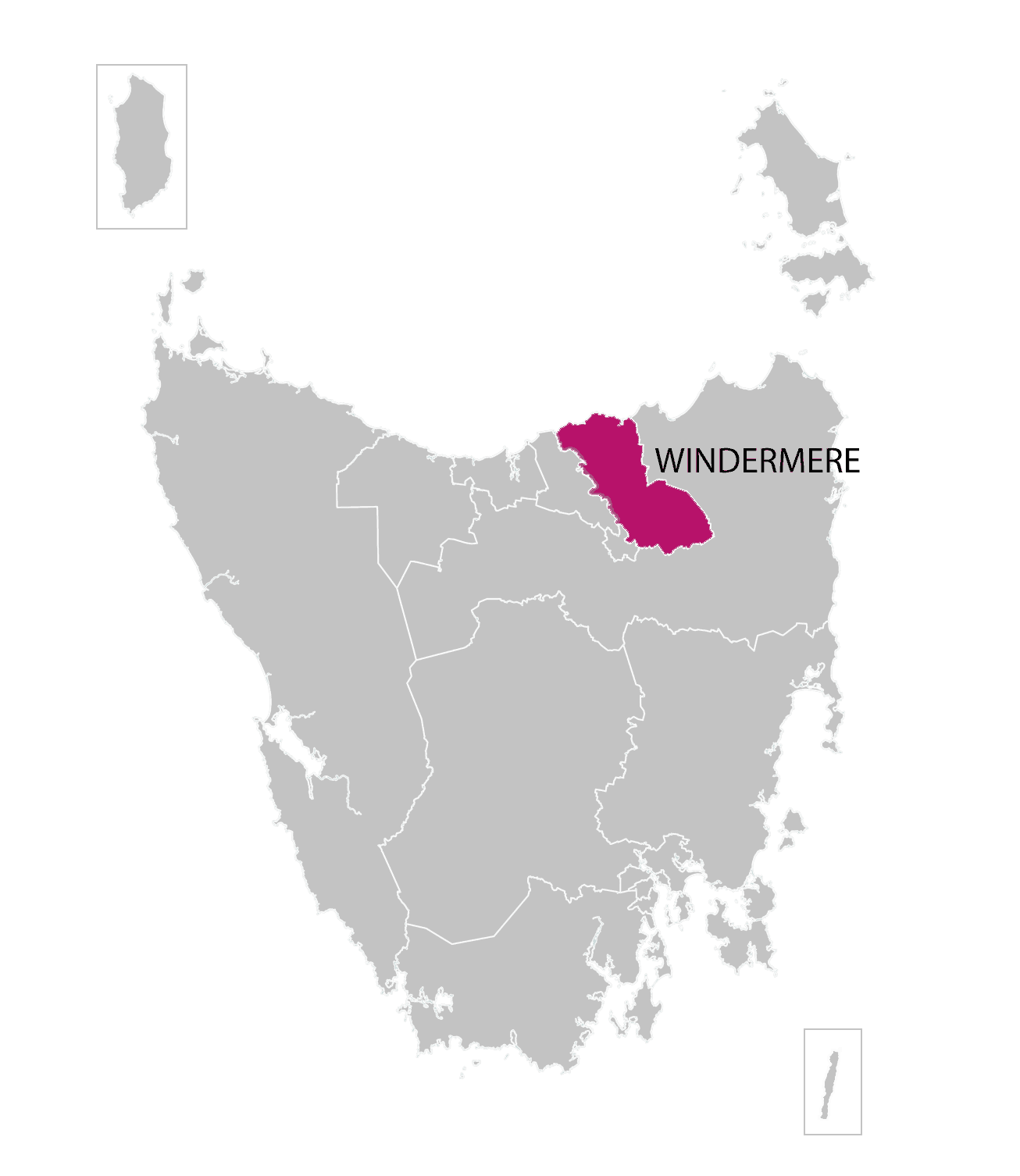 Windermere division highlighted on illustrated map of Tasmania